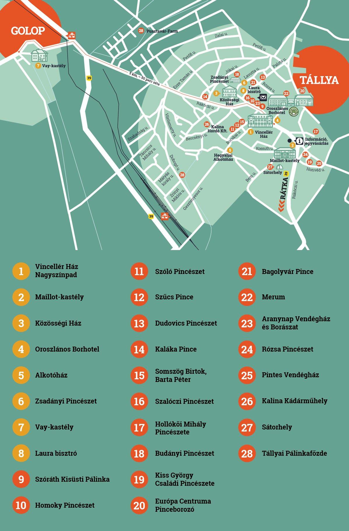 Kerekdomb Fesztivál Tállya térkép